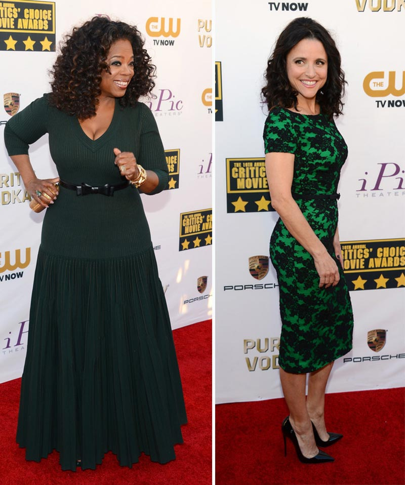 2014 Critics Choice Awards dresses green Oprah Julia Louis Dreyfus