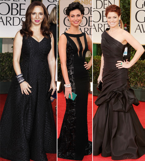 2012 Golden Globe Awards black dresses Maya Rudolph Morena Baccarin Debra Messing