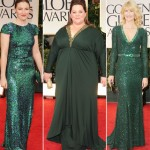 2012 Golden Globes green dresses Kelly Macdonald Melissa McCarthy Laura Dern