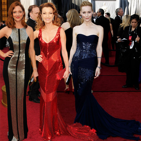 2012 Oscars Red Carpet sequined dresses Judy Grier Jane Seymour Leslie Mann