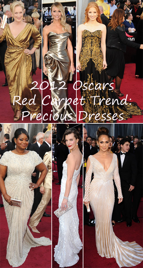 2012 Oscars Red Carpet trend Precious dresses