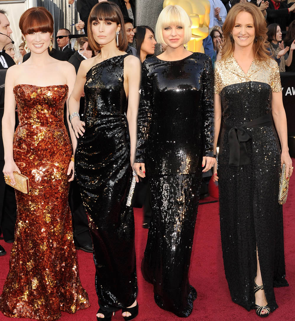2012 Oscars Red Carpet trend sequined dresses Ellie Kemper Rose Byrne Anna Faris Melissa Leo