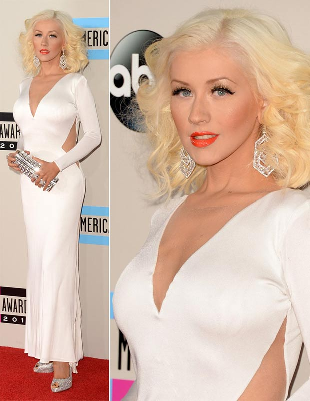 2013 AMAs Red Carpet Christina Aguilera white dress Maria Lucia Hohan