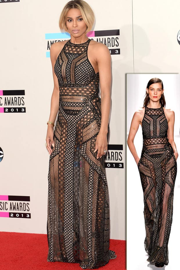 2013 AMAs Red Carpet Ciara J Mendel black dress