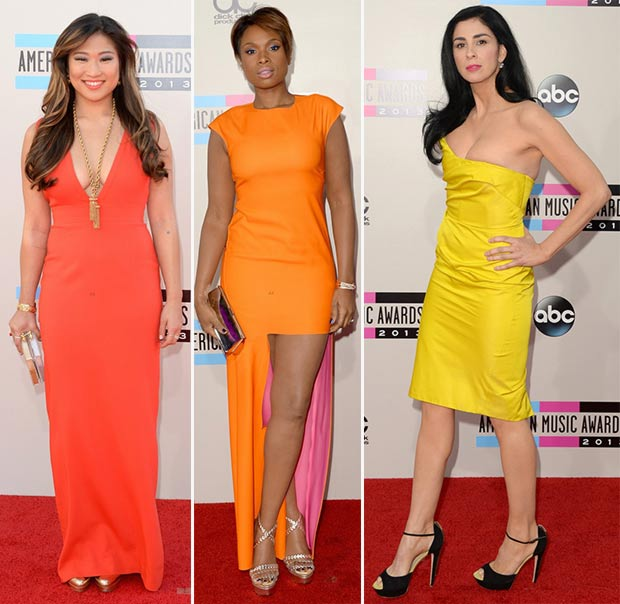 2013 AMAs Red Carpet colorful dresses Jenna Ushkowitz Jennifer Hudson Sarah Silverman