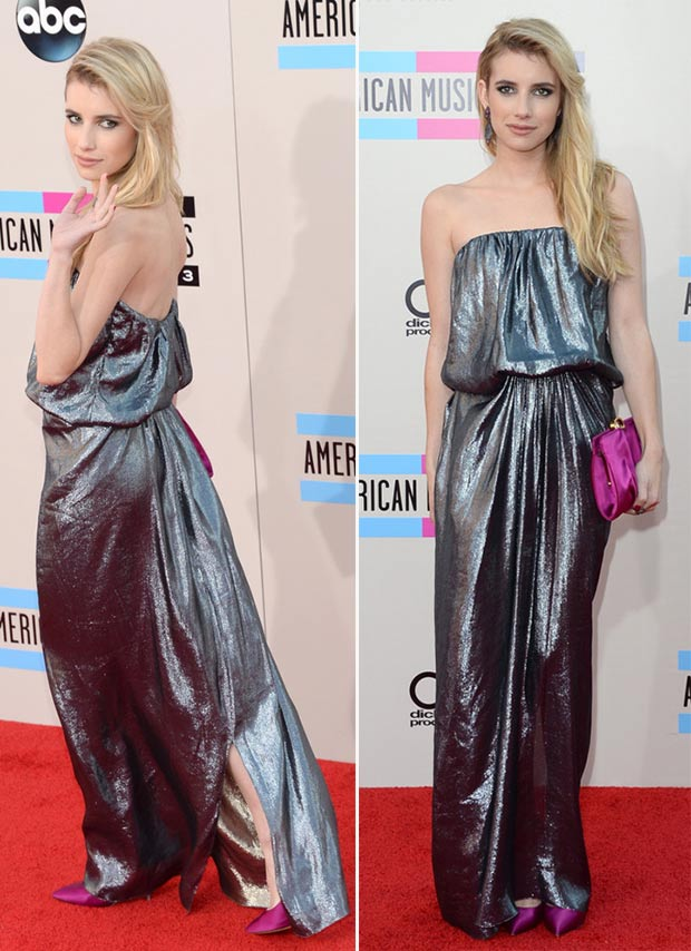 2013 AMAs Red Carpet Emma Roberts metallic dress Lanvin