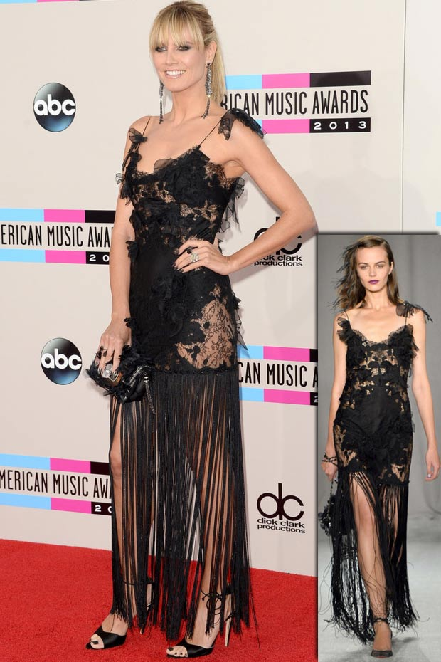 2013 AMAs Red Carpet Heidi Klum black Marchesa dress
