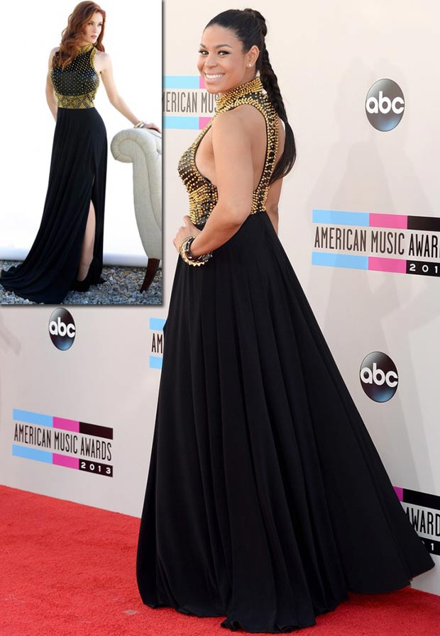 2013 AMAs Red carpet Jordin Sparks Jovani black dress