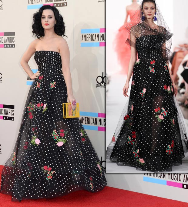 2013 AMAs Red Carpet Katy Perry flowers dress Oscar de la Renta