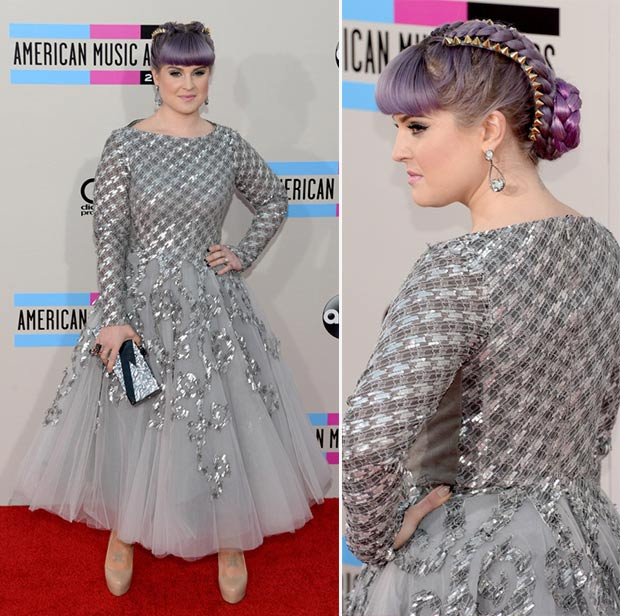 2013 AMAs Red Carpet Kelly Osbourne grey metallic dress