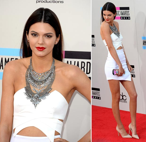 2013 AMAs Red Carpet Kendall Jenner white outfit