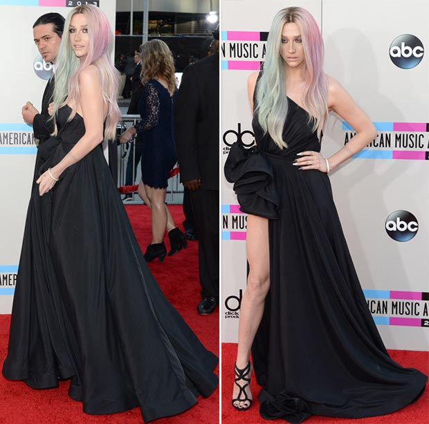 2013 AMAs Red Carpet Kesha black dress Michael Costello