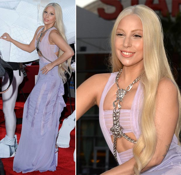 2013 AMAs Red Carpet Lady Gaga lavender Versace dress