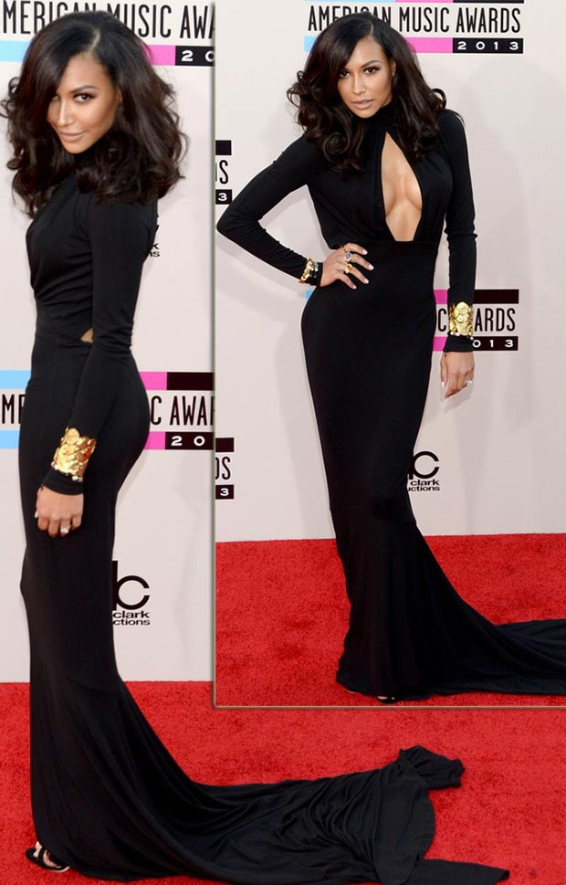 2013 AMAs Red Carpet Naya Rivera black dress Michael Kors