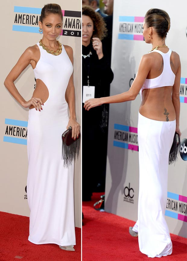 2013 AMAs Red Carpet Nicole Richie white dress