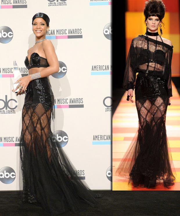 2013 AMAs Red Carpet Rihanna black dress JPGaultier couture