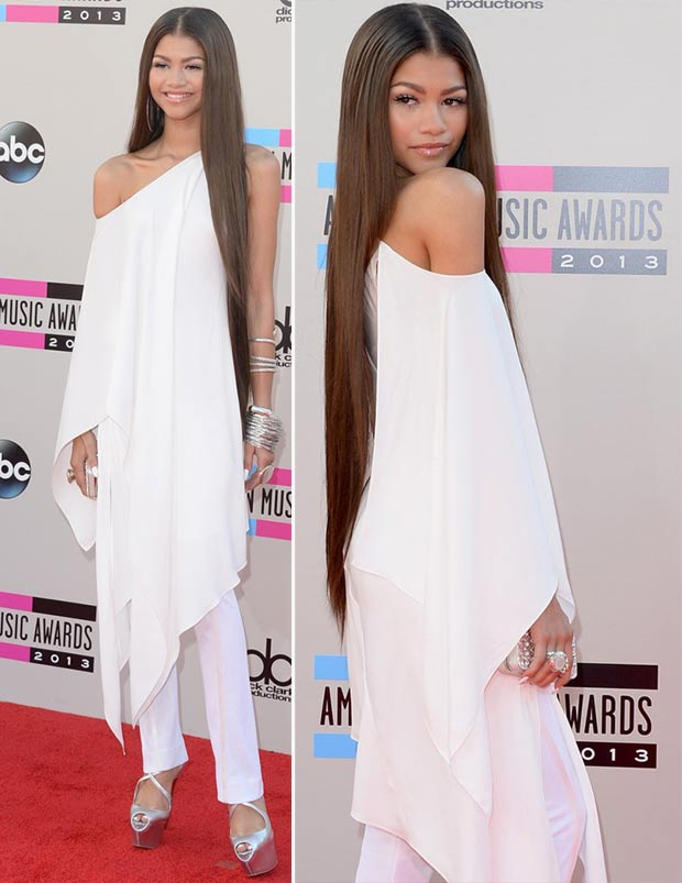 2013 AMAs Red Carpet Zendaya white outfit Donna Karan