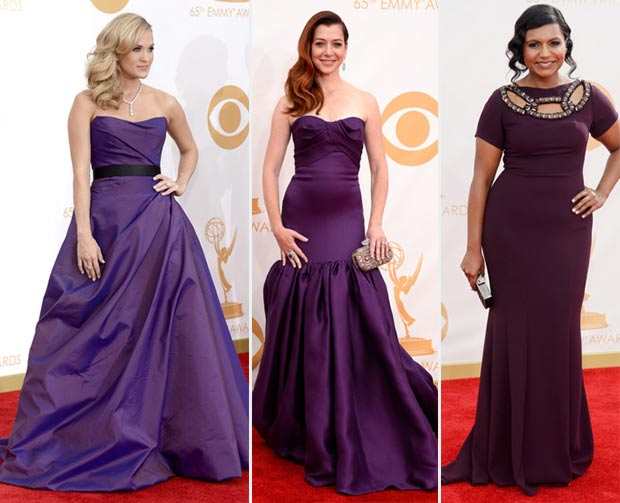 2013 Emmy Awards purple indigo dresses Carrie Underwood Alyson Hanigan Mindy Kaling