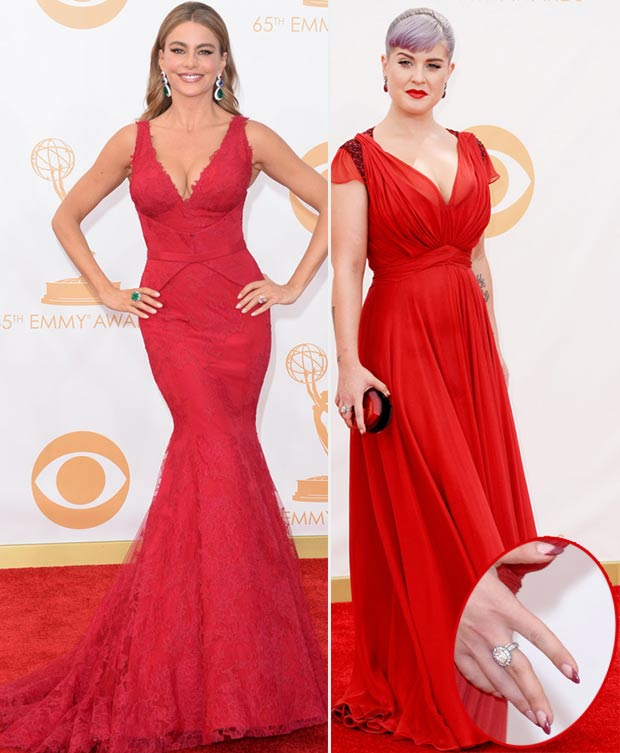 2013 Emmy Awards red dresses Sofia Vergara Kelly Osbourne