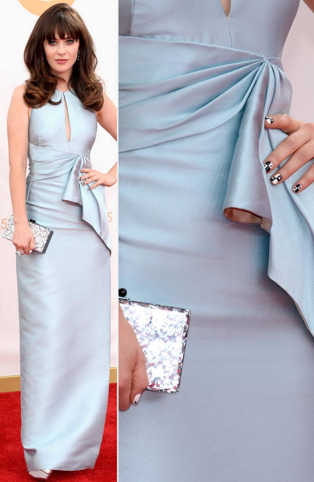 2013 Emmy blue dress Zooey Deschanel domino nails