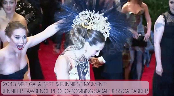 2013 Met Gala best moment Jennifer Lawrence photo bomb
