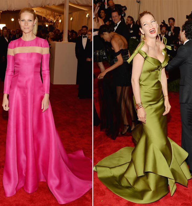 2013 Met Gala colorful outfits Gwyneth Paltrow pink Uma Thurman green