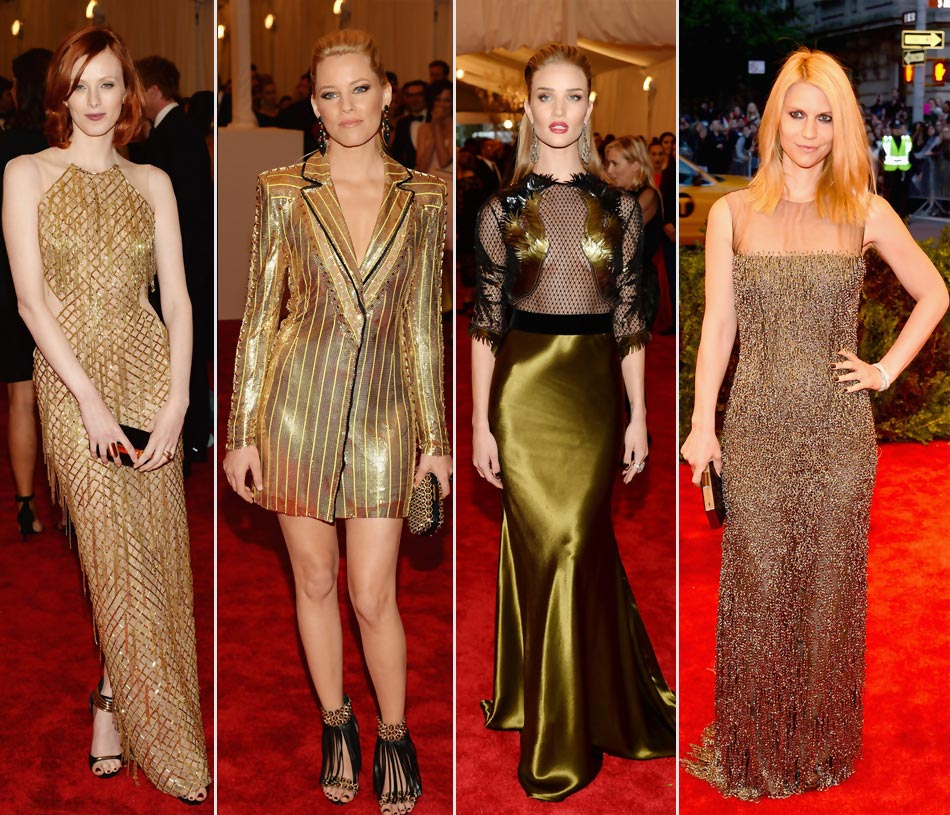 2013 Met Gala golden dresses Karen Elson Rosie Huntington Whiteley Elizabeth Banks Claire Danes