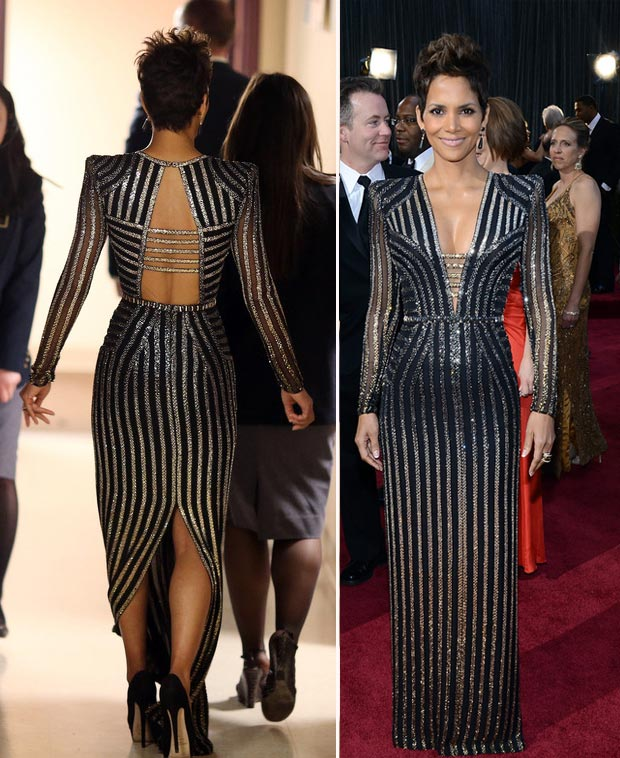 2013 Oscars fashion disappointment Halle Berry black dress