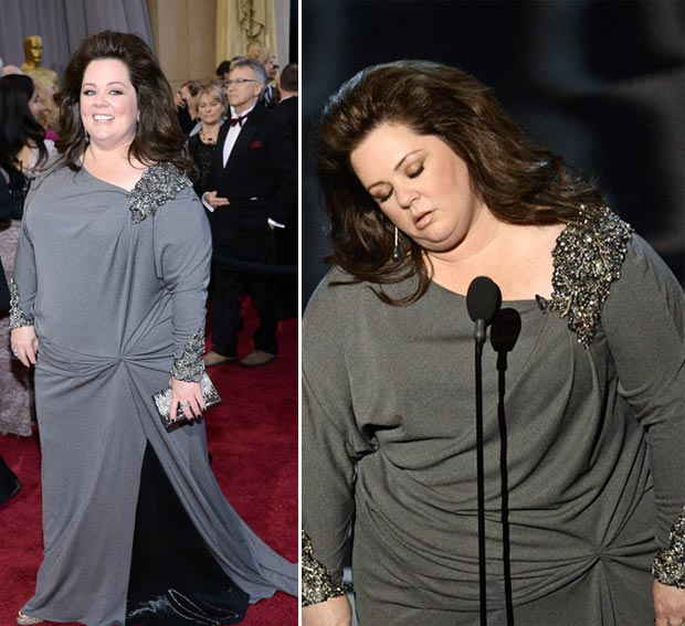 2013 Oscars fashion fail Melissa McCarthy gray dress