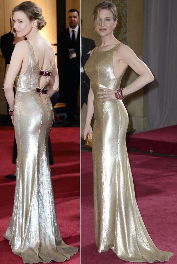 2013 Oscars Fashion Fail Renee Zellwegger gold dress