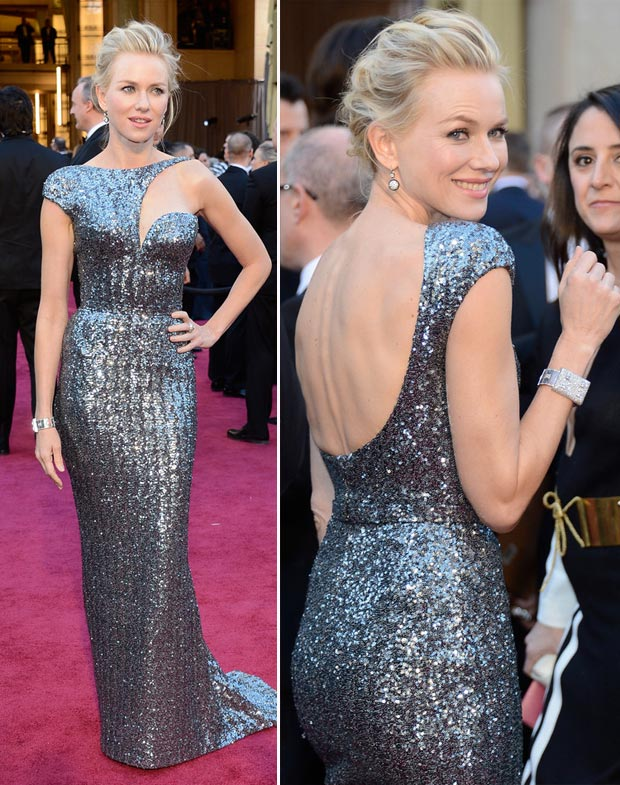 2013 Oscars Fashion Naomi Watts silver sequined Armani dress