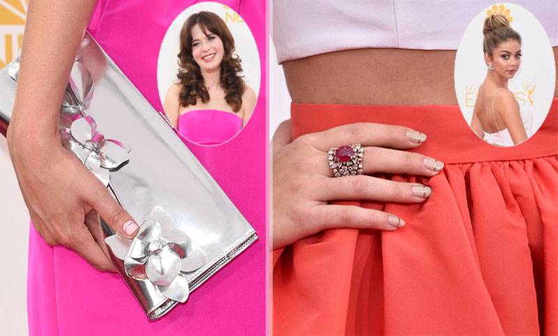 2014 Emmys nails Zooey Deschanel Sarah Hyland twin manis