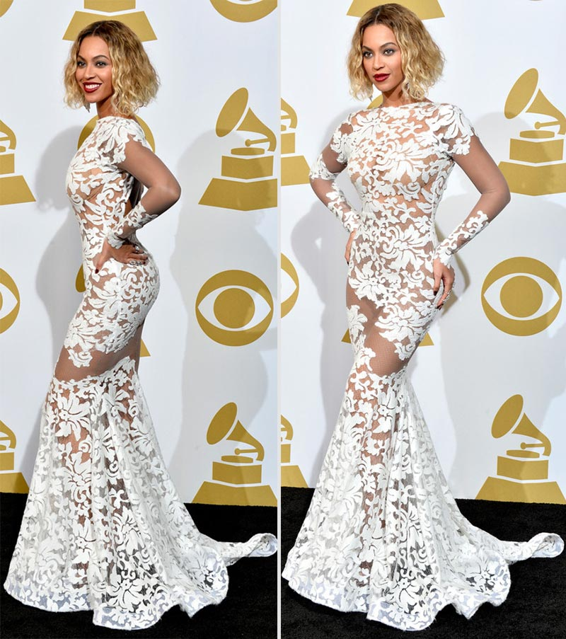 2014 Grammy Awards Beyonce white lace Michael Costello dress