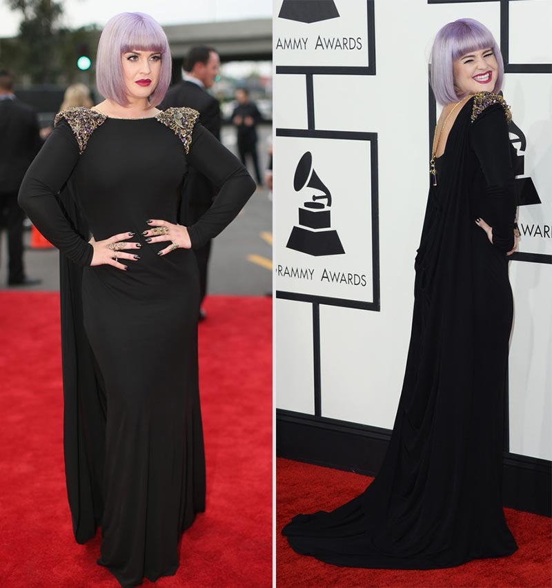 2014 Grammy Awards Kelly Osbourne black dress Badgley Mischka