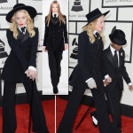 2014 Grammy Awards Madonna black tuxedo Ralph Lauren