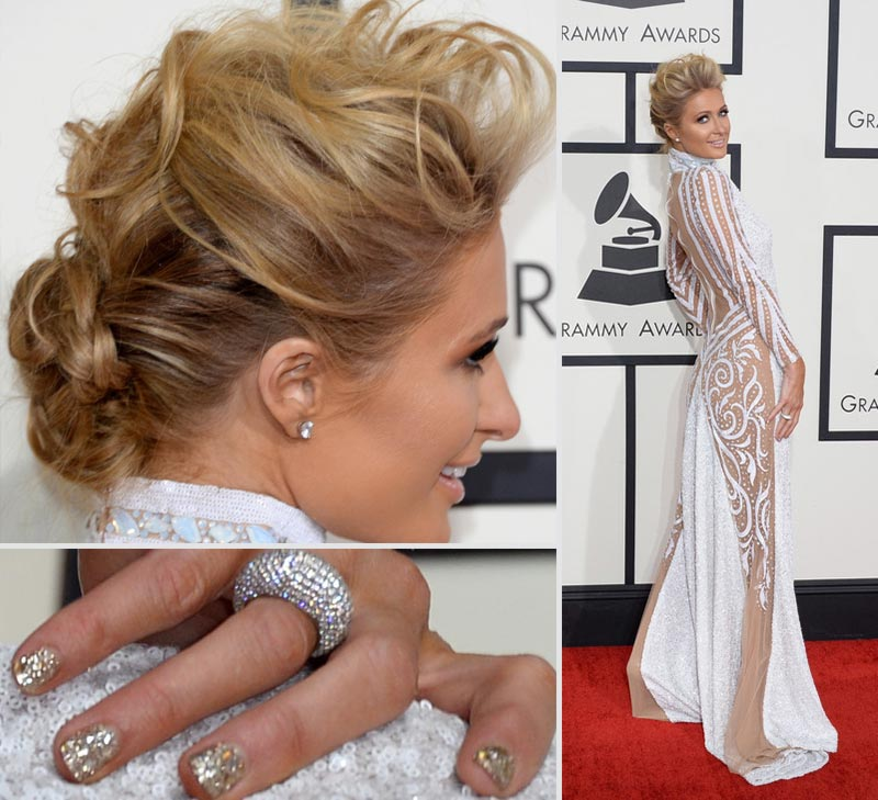 2014 Grammy Awards Paris Hilton dress hair glitter nails