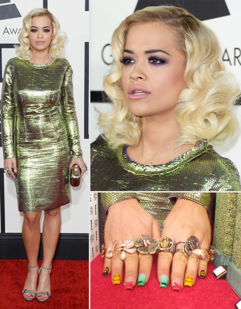 2014 Grammy Awards Rita Ora Lanvin dress super nails