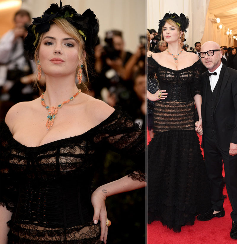 2014 Met Gala fashion disaster Kate Upton Dolce black dress