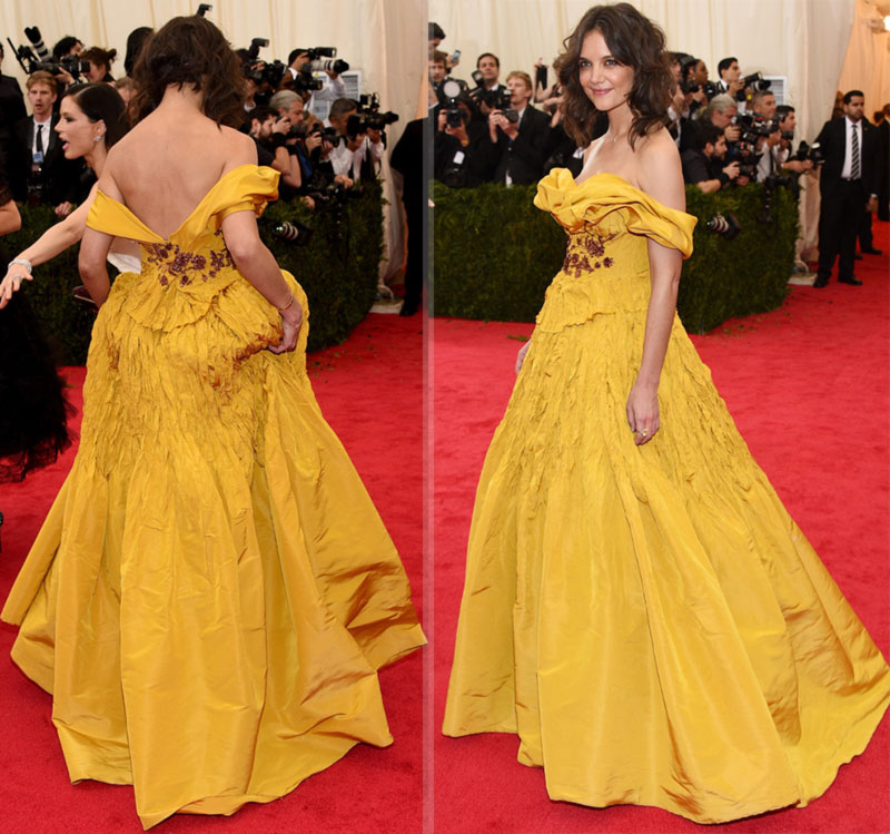 2014 Met Gala fashion disaster Katie Holmes yellow dress Marchesa