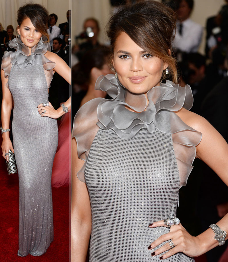 2014 Met Gala fashion wrongs Crissy Teigen grey dress