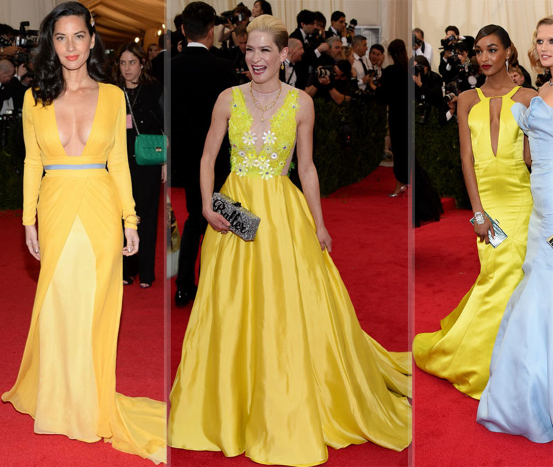 2014 Met Gala fashion yellow dresses Olivia Munn Julia Maclowe Jourdan Dunn