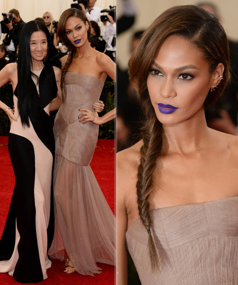 2014 Met Gala Joan Smalls Vera Wang dress blue lips