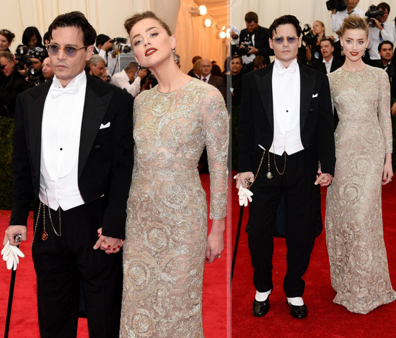 2014 Met Gala Red Carpet couples Johnny Depp Amber Heard