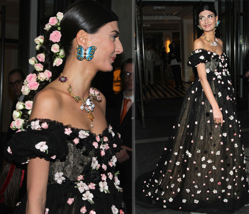 2014 Met Gala Red Carpet Giovanna Battaglia Dolce Gabbana dress hair roses