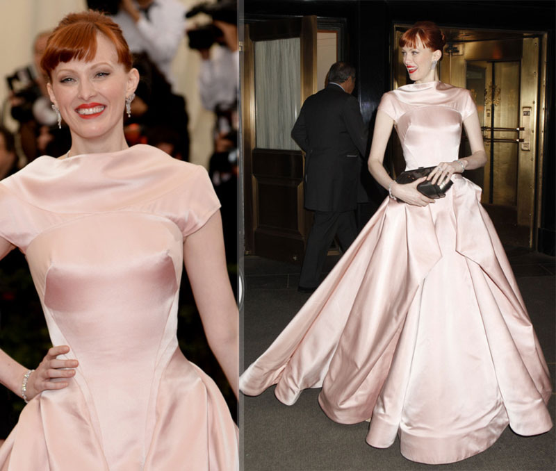 2014 Met Gala Red Carpet Karen Elson Zac Posen dress