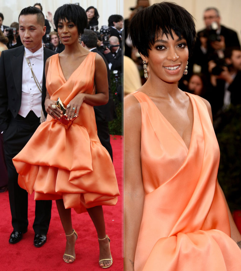 2014 Met Gala Red Carpet Solange Knowles peachy dress Philip Lim