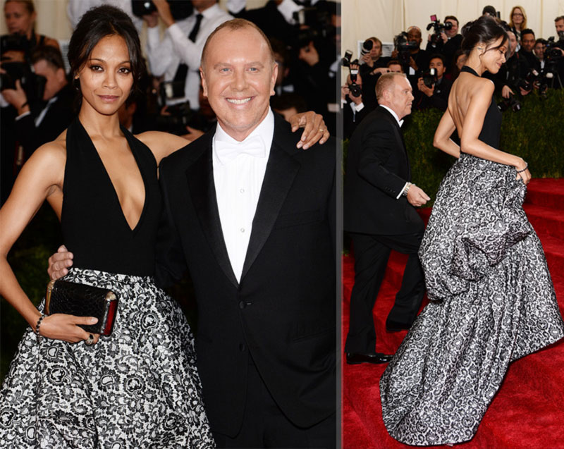 2014 Met Gala Red Carpet Zoe Saldana Michael Kors
