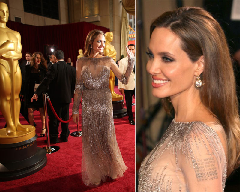 2014 Oscars Angelina Jolie dress hair makeup jewelry