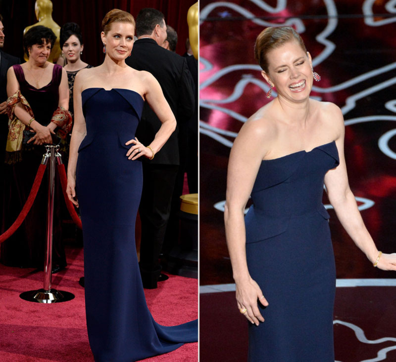 2014 Oscars dresses Amy Adams blue Gucci strapless gown