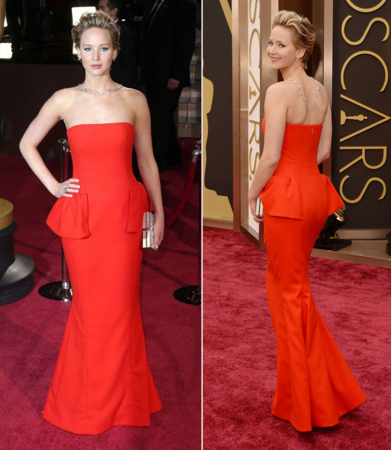 2014 Oscars dresses Jennifer Lawrence red dress Dior Couture